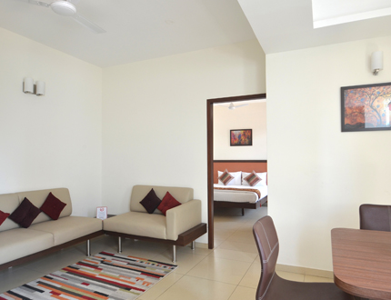 Living Room |Book Alcove Service Apartments in Bangalore